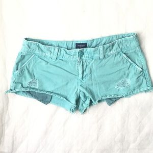 American Eagle Teal Distressed Cotton Shorts
